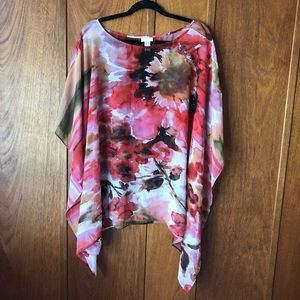 Chico's Floral Lightweight Sheer Poncho
